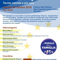 """Tavola rotonda """"Cattolici, Europa e partito Popolare"""" sabato 20 ottobre a Milano"""