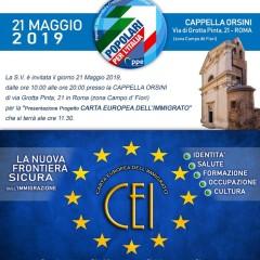 21 maggio 2019 Presentazione Progetto Carta Europea dell'Immigrato